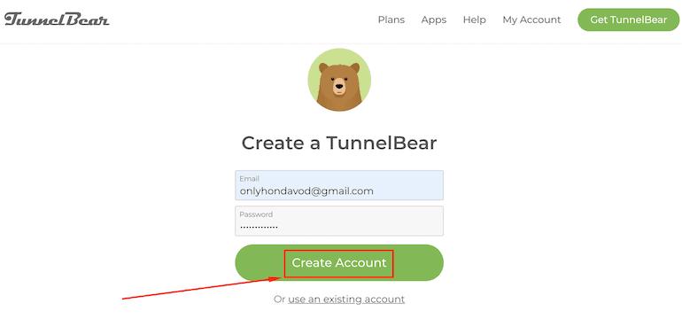 Создание аккаунта в TunnelBear