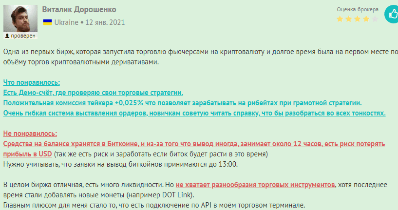Удовлетворительный отзыв о работе BitMEX